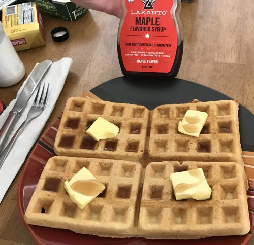 Healthy Low-Carb Waffles, Maple Syrup